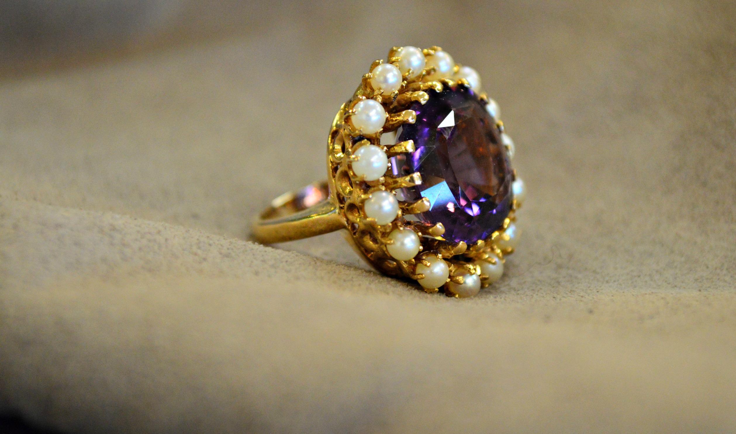 14K Amethyst/Lavender Jade Ring