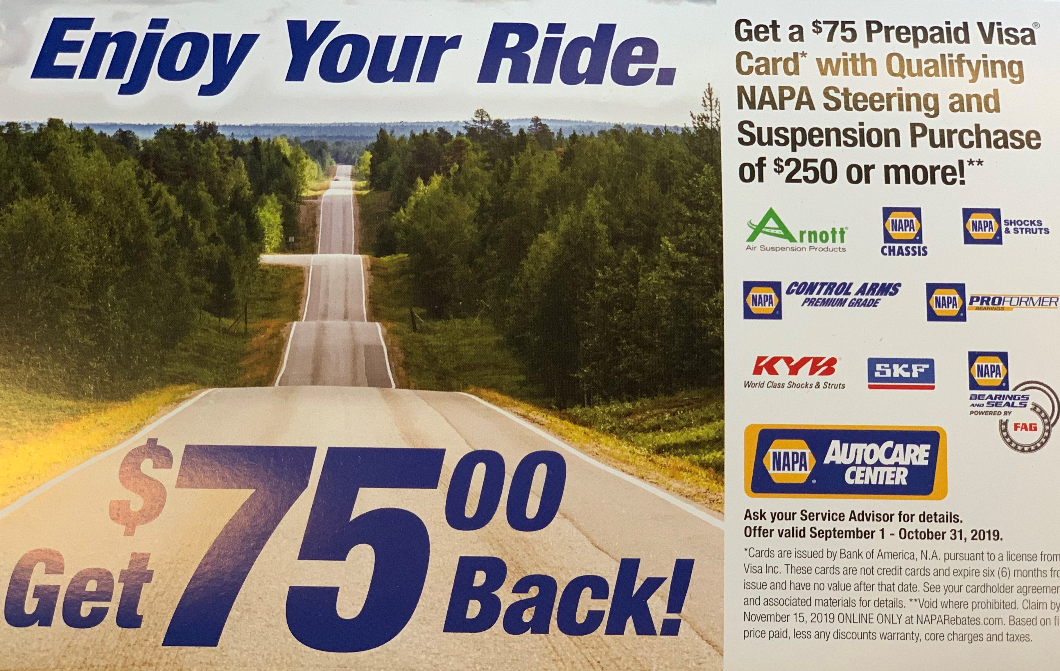 NAPA REBATE: Get $75 Prepaid Visa Card w/ Qualifying NAPA Steering and Suspension Purchase Of $250+