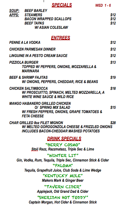 WEDNESDAY JANUARY 6th SPECIALS