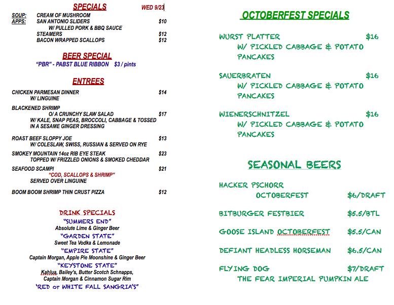 Wednesday September 23rd Specials