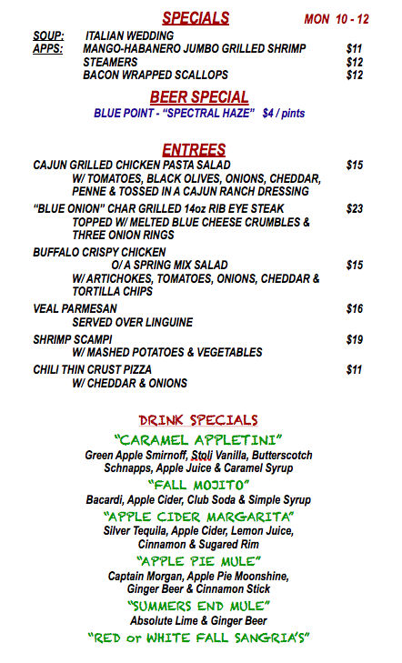 MONDAY OCTOBER 12th SPECIALS