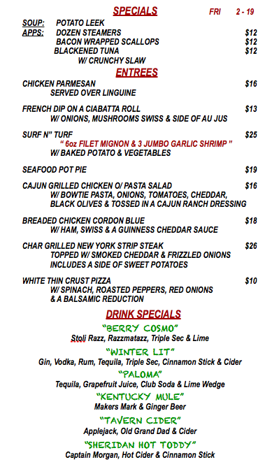 FRIDAY FEBRUARY 19th SPECIALS