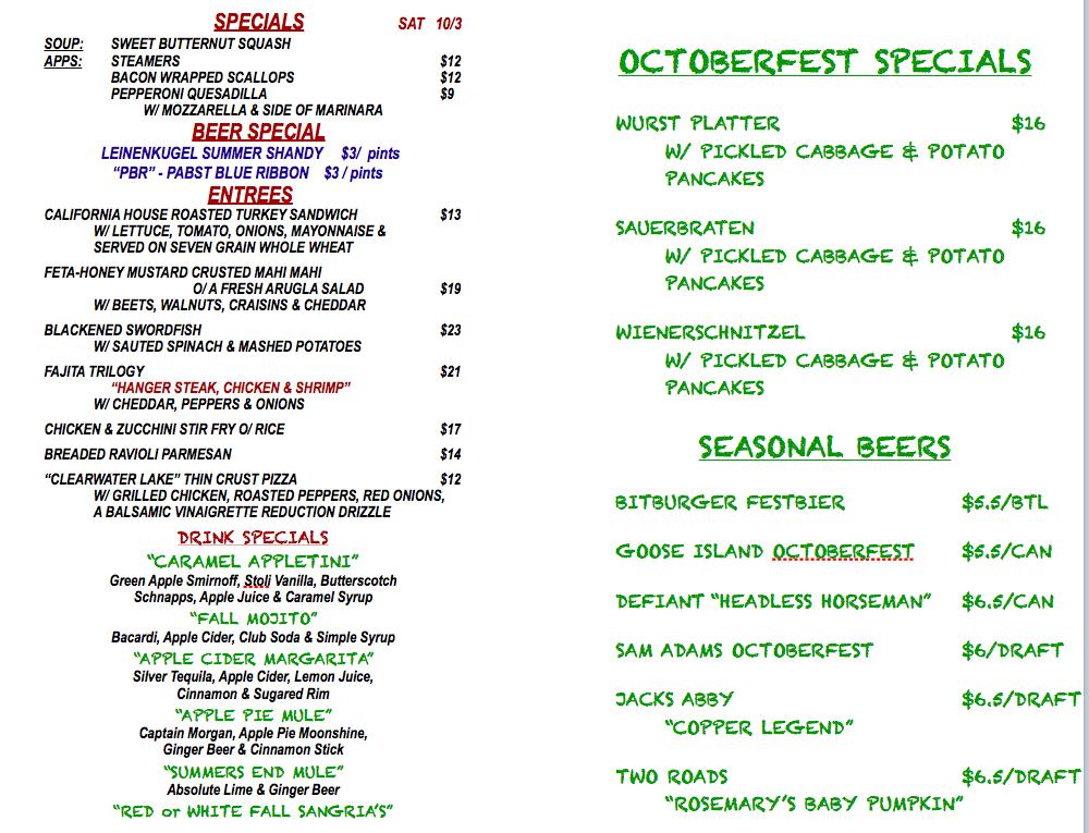 SATURDAY OCTOBER 3rd SPECIALS