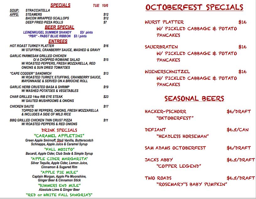 TUESDAY OCTOBER 6th SPECIALS