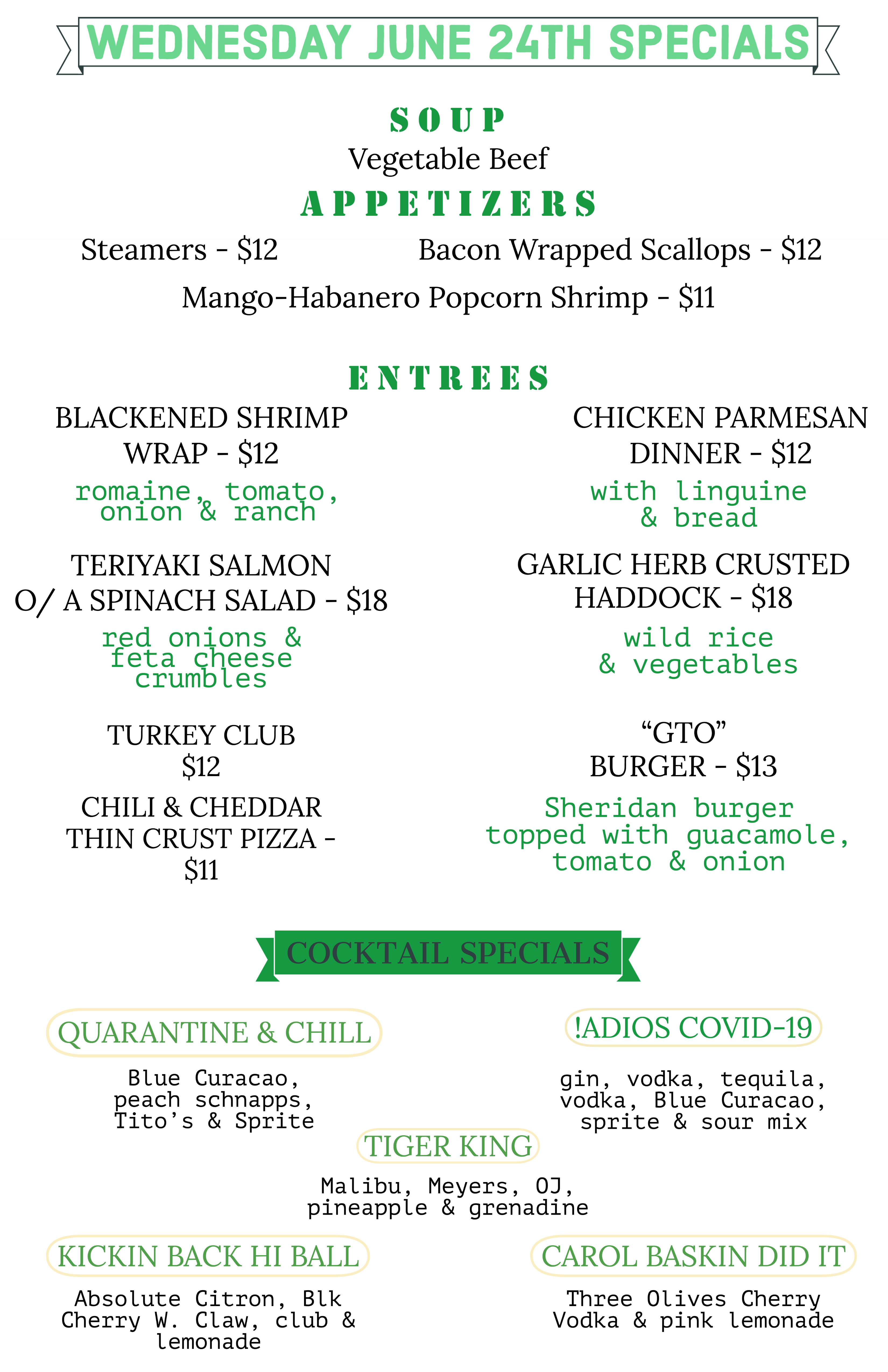 Wednesday June 24th Specials