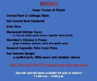 THURSDAY 3/19 LUNCH SPECIALS