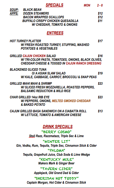 MONDAY FEBRUARY 8th SPECIALS