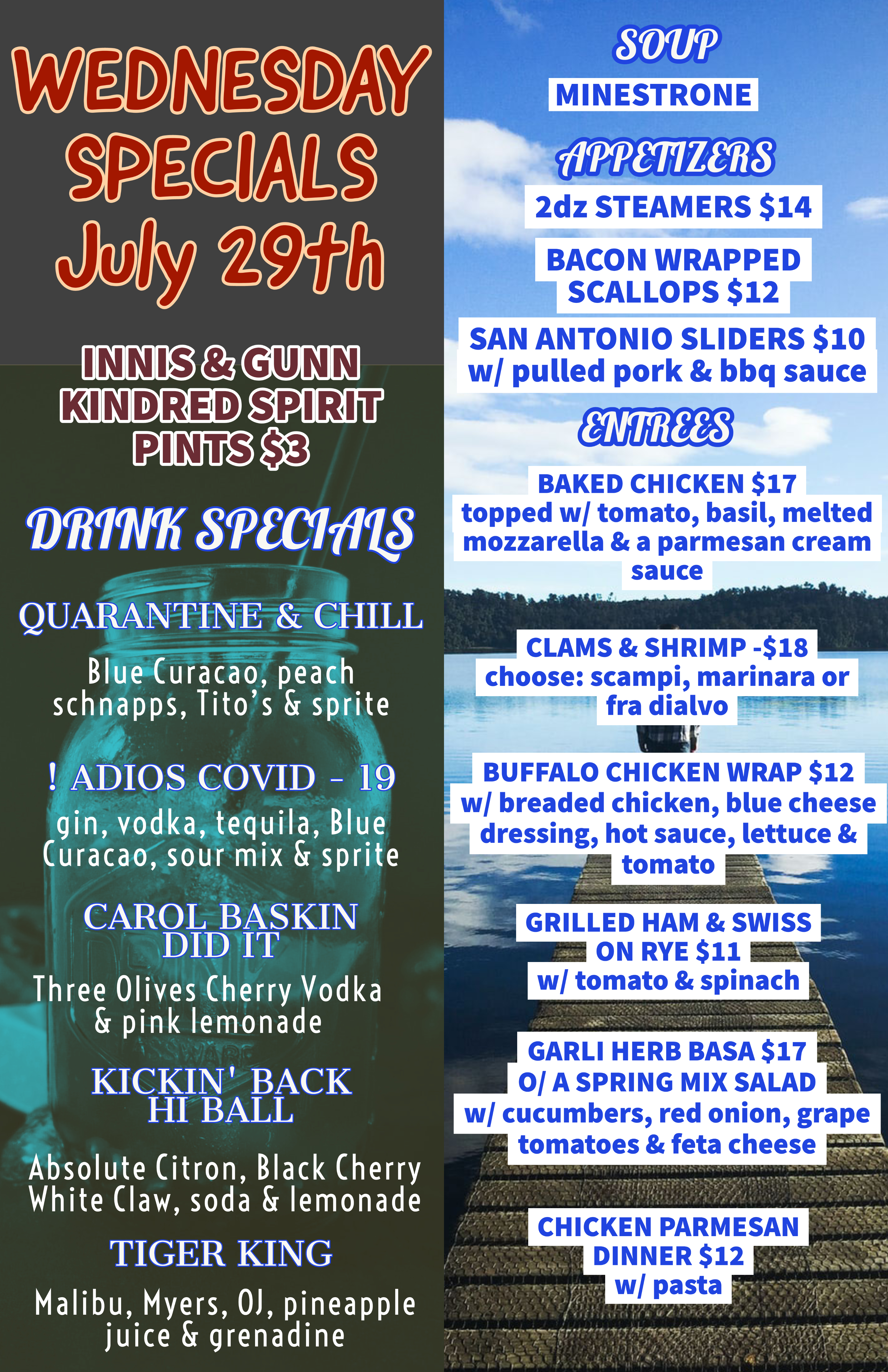 Wednesday July 29th Specials