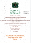 FRIDAY MARCH 20th SPECIALS