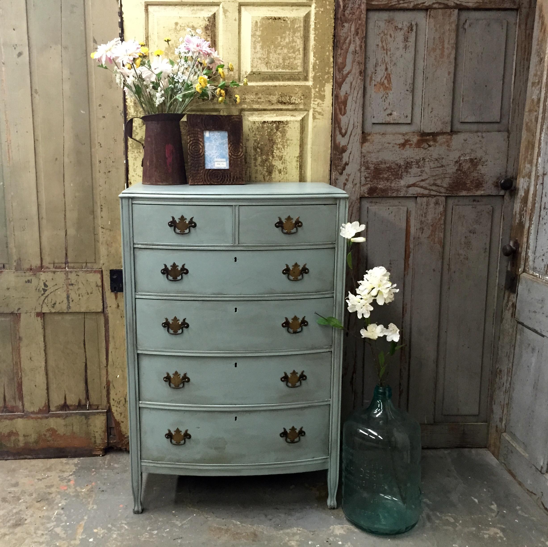 Blue Dresser Vintage Tall Dresser Unique Bedroom Furniture 1940s Furniture Spartaone