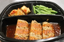 Heart Healthy Meatloaf with a Sweet Ketchup Glaze, Roasted Herb Potatoes, & Green Beans