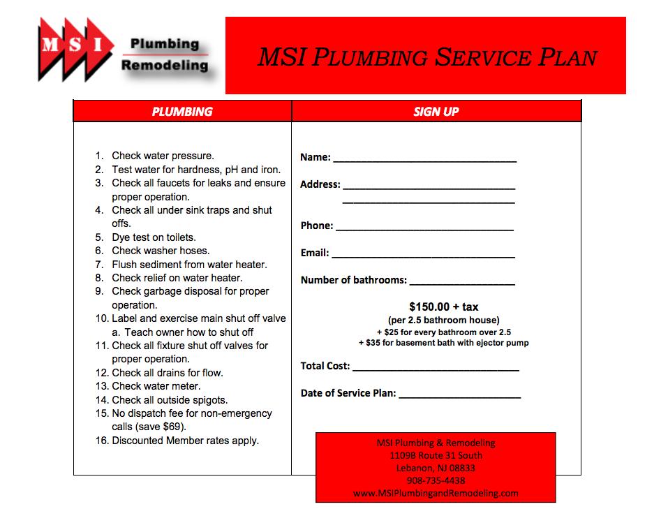Plumbing Service Plan