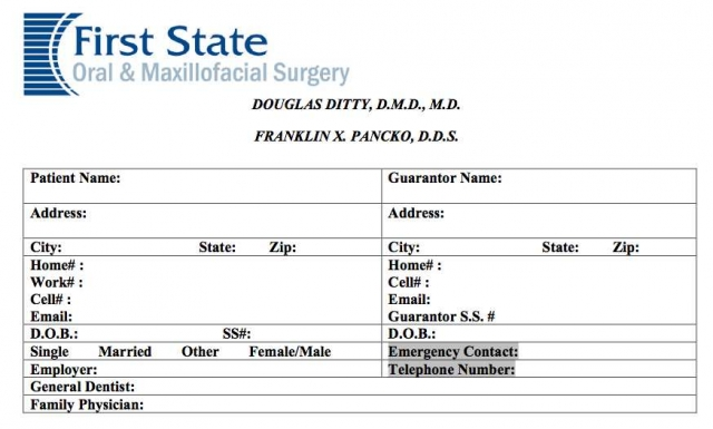 Patient Registration Form Posted  First State Oms