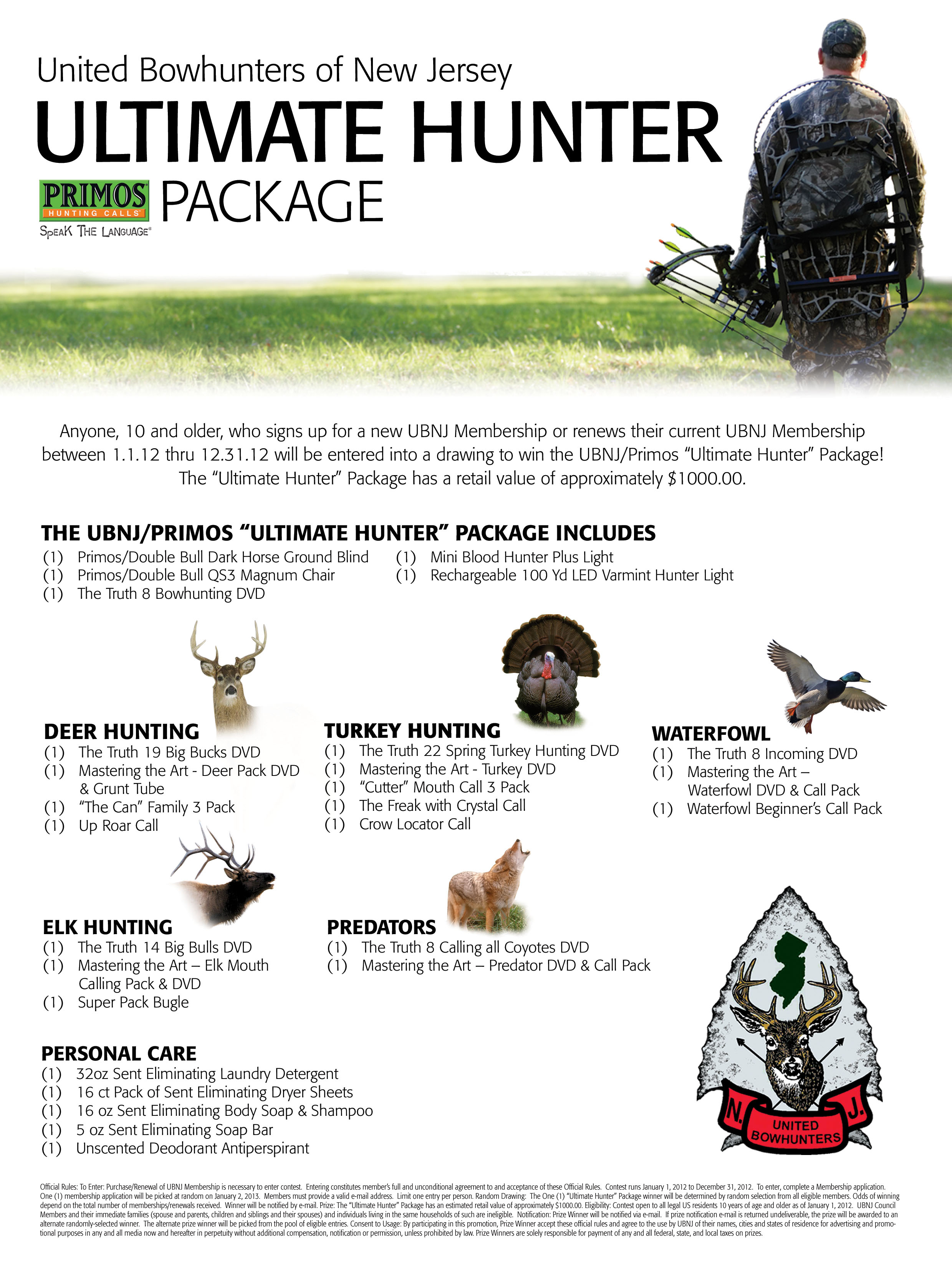 Ultimate hunter package united bowhunters of nj for Nj fishing license 2017