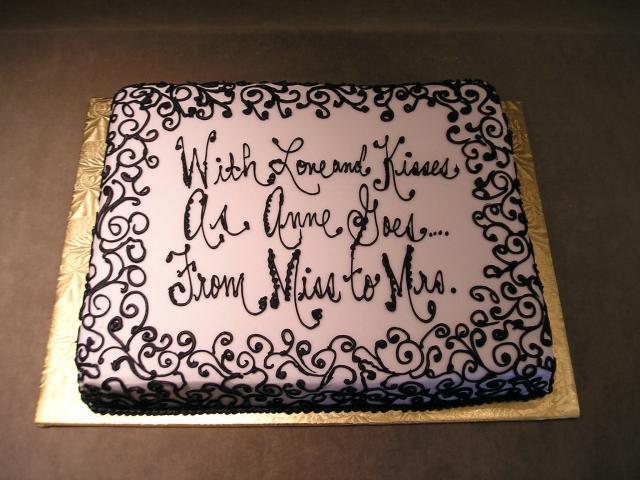 Stephanie Scrolls Black Sheet Cake