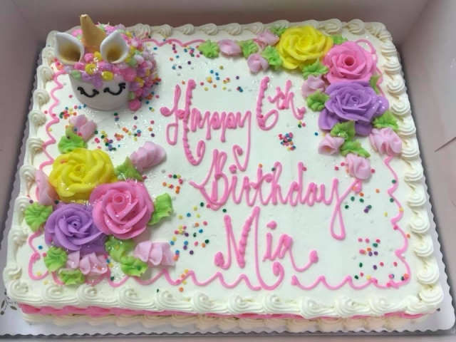 Unicorn Cupcake 4oz Price On Top Of Half Sheet Cake Girl Birthday