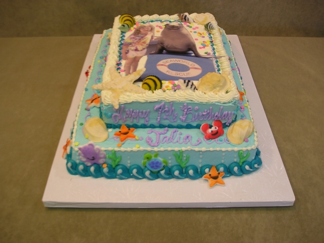 Half Quarter Sheet Cakes With Edible Image And Sea Theme