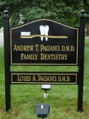 Carved Sign, V-Carved Sign, Gold Leaf Sign, Custom Sign, Post and Panel Sign, Pagano Dentistry Sign, Valley Wide Signs