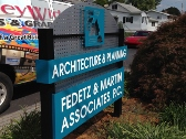 Fedetz & Martin, Post and Panel Sign, Custom Sign, Cool Sign, Architecture Sign, Valley Wide Signs