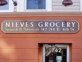 Carved Sign, Nieves Grocery, Allentown Sign, Valley Wide Signs, V-Carved Sign, Gold Leaf Sign, Black and Gold Sign