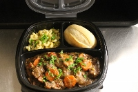 Heart Healthy Beef Stroganoff accompanied by Parsley Elbow Noodles & a Fresh Baked Dinner Roll