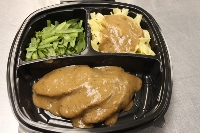 Pork Tenderloin with Roasted Pork Gravy Yoke Free Egg Noodles & String Beans
