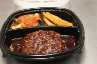 90 Percent Classic Meatloaf with a Sweet Carolina Sauce, Baked Sweeet Potatoes,& Zuchini Oreganato with Tomatoes