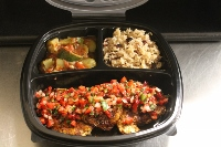 Heart Healthy Seared Chicken with a Strawberry Salsa accompanied by a Tex Mex  Rice Pilaf & Stewed Zucchini