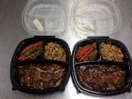 Sweet and sour 5 spice pork accompanied by sesame grilled vegetables & ginger lemon wild rice