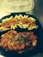 Herb Chicken with Vegetable and Tomato accompanied with Whole Wheat Penne Pasta Layered with Marinara