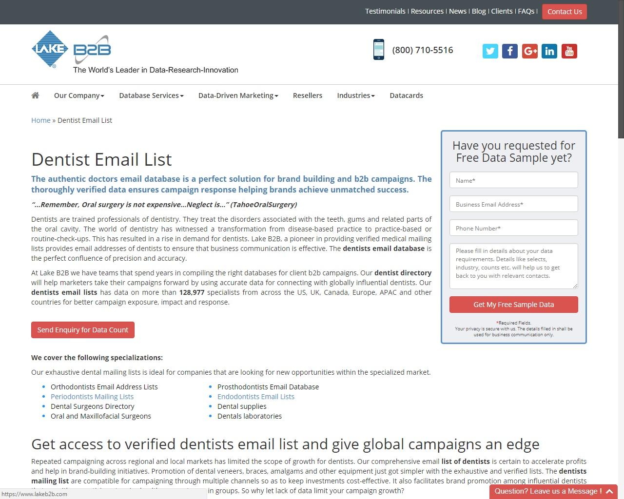 count on dentists mailing list | lake b2b | Armonk, NY | EggZack com