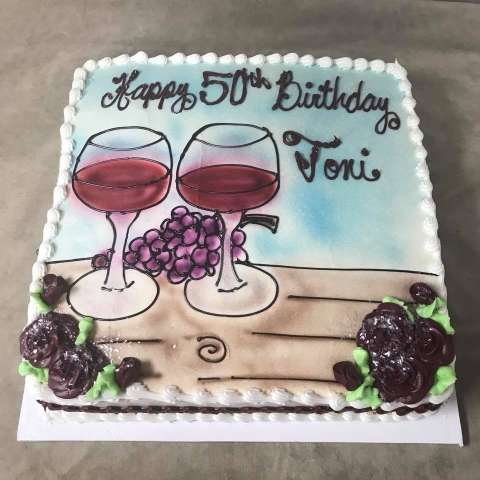 Previous Next10 Lb Square Pound Cake Serves 40 To 50 With Wine Grapes Drawn On MENS BIRTHDAY CAKES
