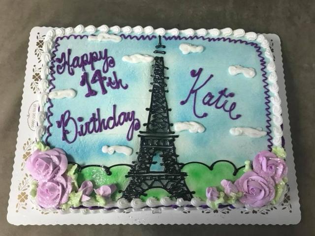 Admirable Eiffel Tower On Half Sheet Cake Funny Birthday Cards Online Aeocydamsfinfo