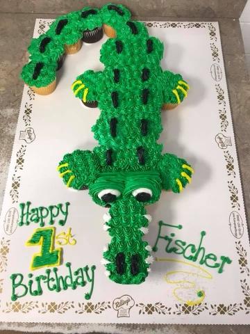 Pleasing Alligator Cupcake Cake 2Dz Funny Birthday Cards Online Overcheapnameinfo
