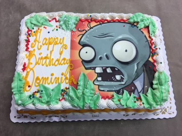 Plants Vs Zombies Edible Image On Quarter Sheet Cake Boy Birthday