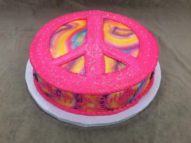 Cool Primary Tye Dye Pink Peace Sign Emme 6Lb Personalised Birthday Cards Epsylily Jamesorg